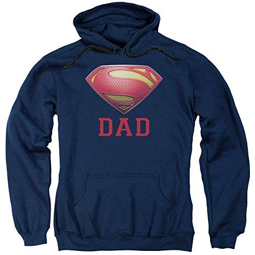Superman Super Dad Adult Pullover Hoodie Navy