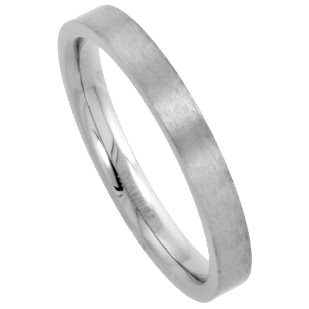 3mm Titanium Wedding Band / Thumb Ring Toe Ring Thin Plain Flat Comfort-Fit Brushed 5/16 inch, size 9