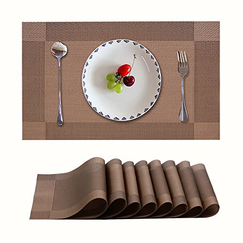 Candumy Placemat Table Mats: Heat Stain and High Temperature Resistant; Anti-Skid Washable Non-Slip Insulation; Crossweave Woven Textilene Vinyl PVC for Kitchen and Dining Set of 8(Brown)