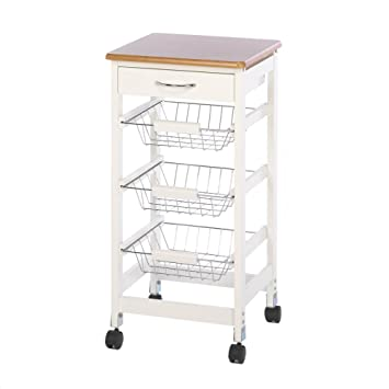Superior Wood Top Kitchen Cart With Baskets