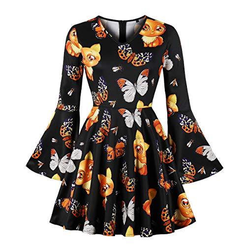 Wellwits Women's Cat Butterfly Halloween Bell Long Sleeve Swing Vintage Dress -