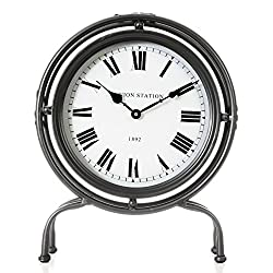 kieragrace 17.25 Union Stand Metal Table Clock, Black, Large