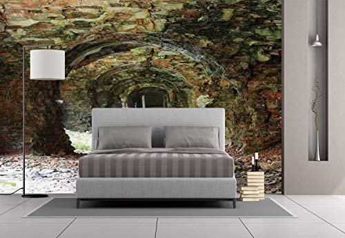 Funky Wall Mural Sticker [ Rustic Home Decor,Ruins of Arched Medieval Period Brick Tunnel Architecture Heritage Design,Grey Red ] Self-Adhesive Vinyl Wallpaper/Removable Modern Decorating Wall -