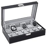 Watch Box Organizer 12 Mens Display Storage Case Metal Hinge Glass Top Black PU Leather Velvet Pillows SSH03B