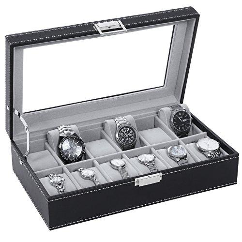 Watch Box Organizer 12 Mens Display Storage Case Metal Hinge Glass Top Black PU Leather Velvet Pillows SSH03B by BEWISHOME