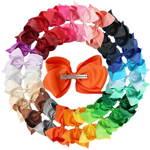 XIMA 25pcs 5inch Grosgrain Boutique Hair Bows with Clip for Children Hair Accessories (with clip mixcolors) (Boutique Accessories)