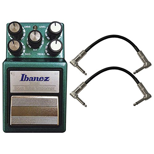 Ibanez TS9B Bass Tube Screamer Bass Stomp Box w/ 2 Patch Cables