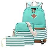 Abshoo Lightweight Canvas Stripe Backpack Cute Teen Girls Women Backpacks Set School Bags (Set Green)