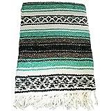 Cheap El Molcajete Brand Traditional Mexican Yoga BlanketSerape Mint