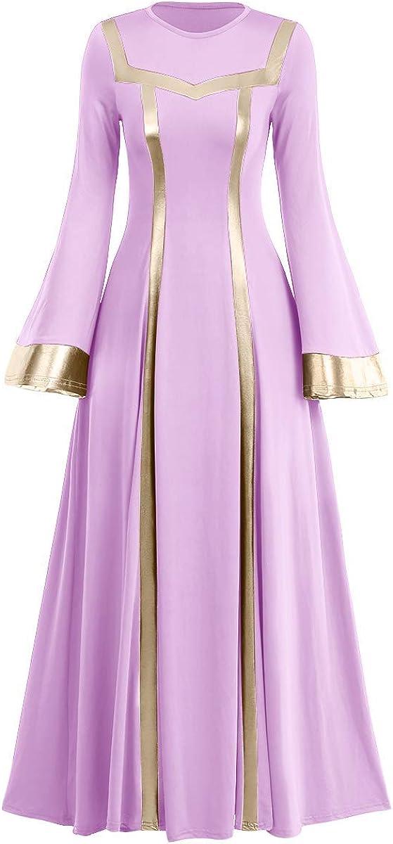 Women Metallic Praise Dance Dress Liturgical Church Worship Costume Bell Long Sleeve Bi Color Lyrical Robe Dancewear