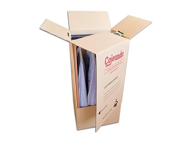 Pack de Seis (6) Cajas Armario de Cartón, Color Marrón y Canal Doble. Mudanzas. Guardarropa. Incluyen 6 Barras Perchero. Tamaño 50 x 50 x 101 cm. ...