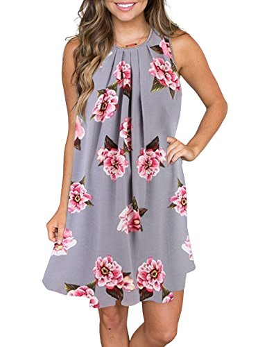 MEROKEETY Women's Sleeveless Floral Print Pleated Summer Loose Casual Mini Tank Dress (Floral Print Shift Dress)
