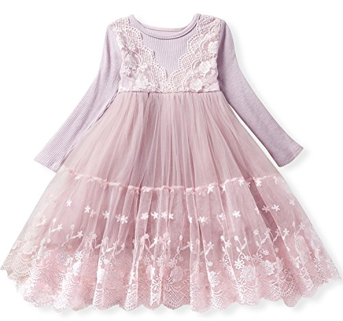 TTYAOVO Girls Knit Longsleeve Lace Flower Tulle Layered Princess Party Dresses Size 3-4 Years Pink]()