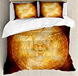 Horror House Decor Duvet Cover Set by Ambesonne, Demon Trap Symbol Logo Ceremony Creepy Ritual Fantasy Paranormal Design, 3 Piece Bedding Set with Pillow Shams, Queen / Full, Orange