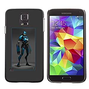 Colorful Printed Hard Protective Back Case Cover Shell Skin for SAMSUNG Galaxy S5 V / i9600 / SM-G900F / SM-G900M / SM-G900A / SM-G900T / SM-G900W8 ( Hero Blue Black Robot Costume Comic Character )
