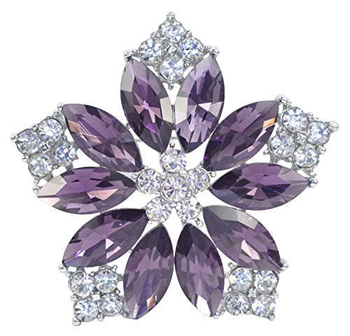 (Gyn&Joy Deep Amethyst Purple Crystal Rhinestone Floral Wreath Lily Flower Brooch Pin BZ205AM)