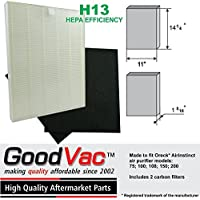 Oreck AirInstinct 75, 100, 150, 200 Replacement HEPA Air Filter with 2 Odor Absorbing Carbon Pre-Filters by GoodVac