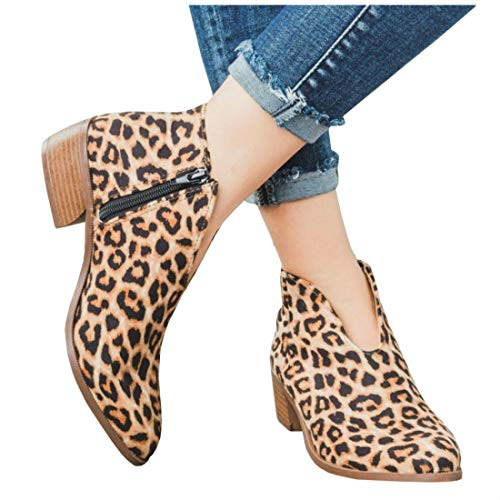 LAICIGO Womens Cute Western Cowboy Bootie Pointed Toe Slip On Low Heel Ankle Boot