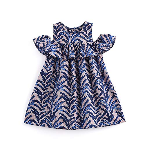 Aimama Toddler Floral Print Bare ShoulderI with Ruffle Sleeve Jersey Blue Dress