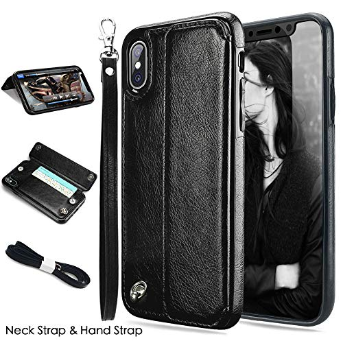 iPhone Xs MAX Case, iPhone Xs MAX Wallet Case, CASEOWL iPhone Xs MAX Case Wallet Faux Leather Flip Card Slot Holder,Wristlet,Neck Strap,Kick-Stand,Shockproof Slim Case for iPhone Xs MAX 2018-Black