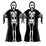 Adult HALLOWEEN SCREAM BONES ROBE + MASK Ghost Costume