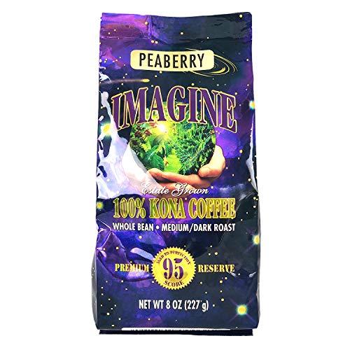Kona Coffee Beans by Imagine - 100% Kona Hawaii - Medium Dark Roast Whole Bean (Peaberry – 8oz.)