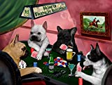 Home of French Bulldogs 4 Dogs Playing Poker Art Portrait Print Woven Throw Sherpa Plush Fleece Blanket (54x38 Tapestry Throw)