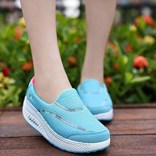 Cmei-rx915tianlan36 Womens Slip-on Piattaforma Scarpe Da Passeggio Mesh Ascensore Forma Aumenta Scarpe Da Ginnastica Blu Cielo 5.5 B (m) Us