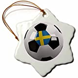 3dRose orn_157020_1 Soccer Ball with The National Flag of Sweden on it Swedish Porcelain Snowflake Ornament, 3-Inch