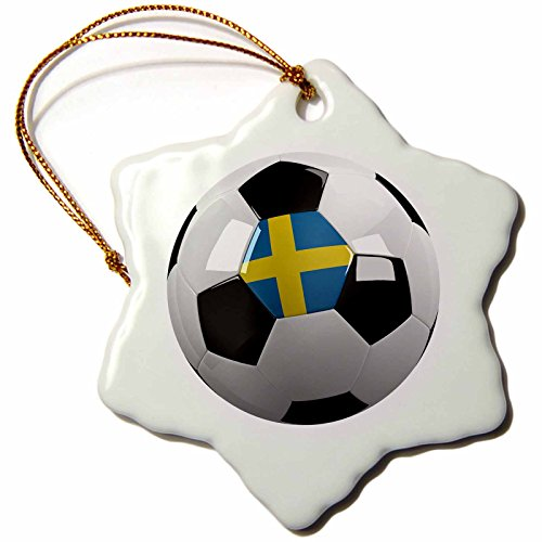 3dRose orn_157020_1 Soccer Ball with The National Flag of Sweden on it Swedish Porcelain Snowflake Ornament, 3-Inch by 3dRose