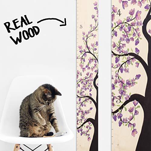Growth Chart Art | Wooden Growth Chart Girls | Measuring Kids Height Wall Décor | Flower Growth Chart Ruler | Tree of Life Purple