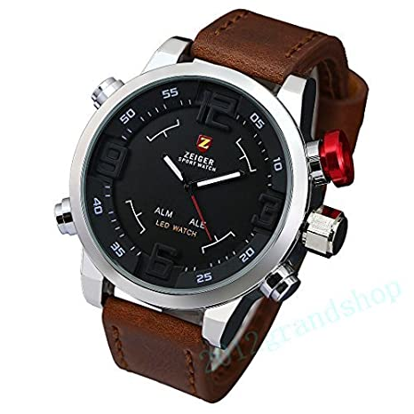Zeiger Montre Homme Quartz - Digital Aiguilles LED Rouge - Date Jour Alarm Chronograph - Cuir Brun
