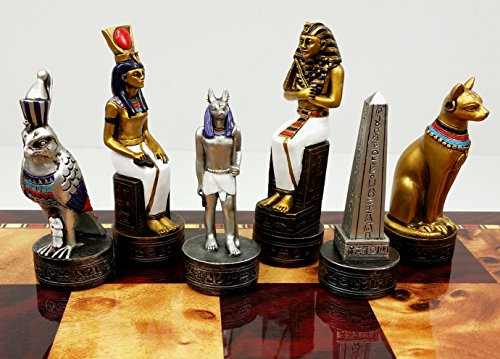 Egyptian Anubis Gold & Silver Chess Men Set W/ Color Accents - NO - Polyresin Chess Piece