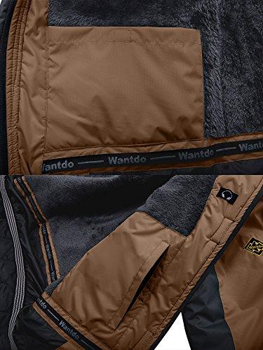 Wantdo Men's Waterproof Mountain Jacket Fleece Windproof Ski Jacket US S Coffee S