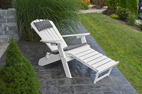 Poly Folding & Reclining Adirondack Chair w/Attached Ottoman - Cherry Wood