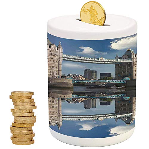 London,Ceramic Girls Bank,for Party Decor Girls Kid's Children Adults Birthday Gifts,Tower Bridge with City Cruise in Summer Day Mirroring on Tranquil Thames River