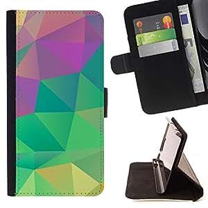 For Sony Xperia Z3 Plus / Z3+ / Sony E6553 (Not Z3) Case , Trullo Rosa Verde Amarillo- la tarjeta de Crédito Slots PU Funda de cuero Monedero caso cubierta de piel