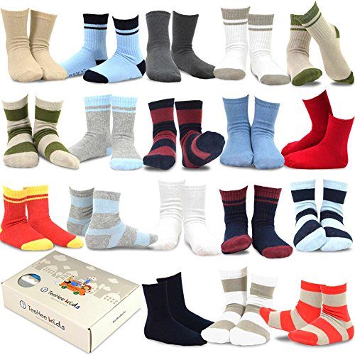 TeeHee Kids Boys Fashion Variety Cotton Crew 18 Pair Pack Gift Box (3-5Y, Sports)
