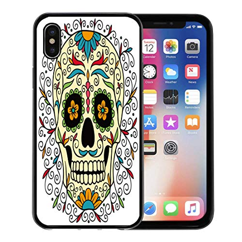 Semtomn Phone Case for Apple iPhone Xs case,Red Pattern Mexican Sugar Skull Yellow Tattoo Halloween Man Carnival for iPhone X Case,Rubber Border Protective -