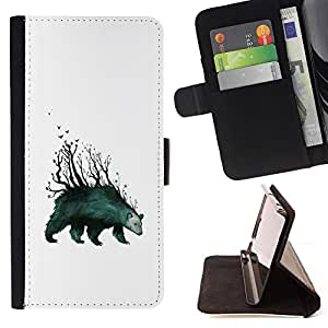 KingStore / Leather Etui en cuir / Samsung Galaxy S5 V SM-G900 / Tenga Forrest - arte abstracto