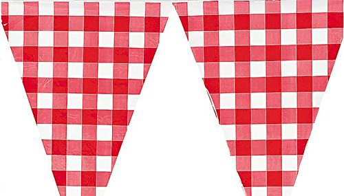 Fun Express Large (plastic) Red and White Checkered Gingham pennant banner - 24 feet long