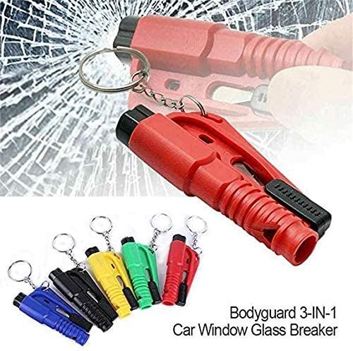 6 pcs 3 in 1 Car Life Keychain Portable Key Comforly Chain Rescue Escape Tool