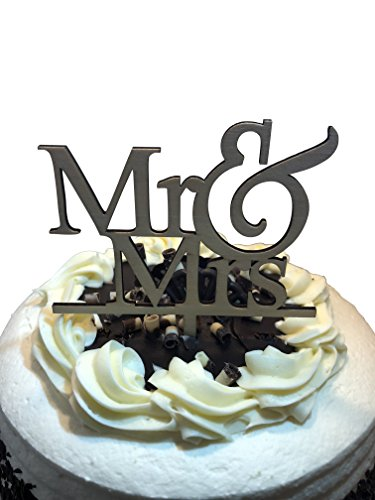 Mr & Mrs Wedding Cake Topper - Celebration Cake Decorating Pick Supplies - Wooden Decor Party Cake Toppers - Food Safe Wood Shower Decorations by Jolly ()