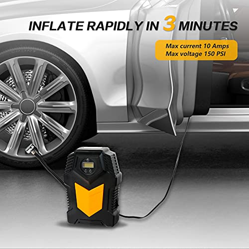 Aoryoa Air Compressor Tire Inflator, DC 12V Portable Air Compressor Pump - Air Pump for Car Tire with Digital Pressure Gauge 150 PSI/Auto Shutoff/3 Extra Nozzles for Bicycle Balloons and Other
