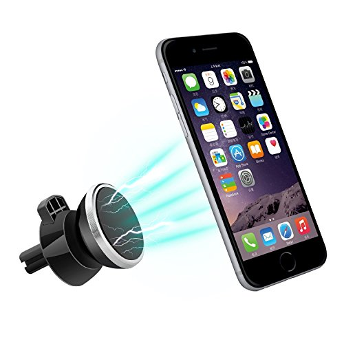 Magnetic Mount , Fellee Universal Air Vent Car Phone Holder Powerful Magnetic Car Mount with 2 Metal Plates,for iPhone 7 / 7 Plus / 6s / Samsung Galaxy S8 / S7 / S6 and more (Light Cars 6 Of Road Round Chrome)