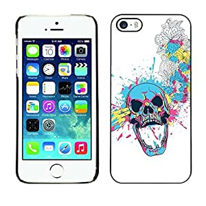Be Good Phone Accessory // Dura Cáscara cubierta Protectora Caso Carcasa Funda de Protección para Apple Iphone 5 / 5S // Floral Skull Blast