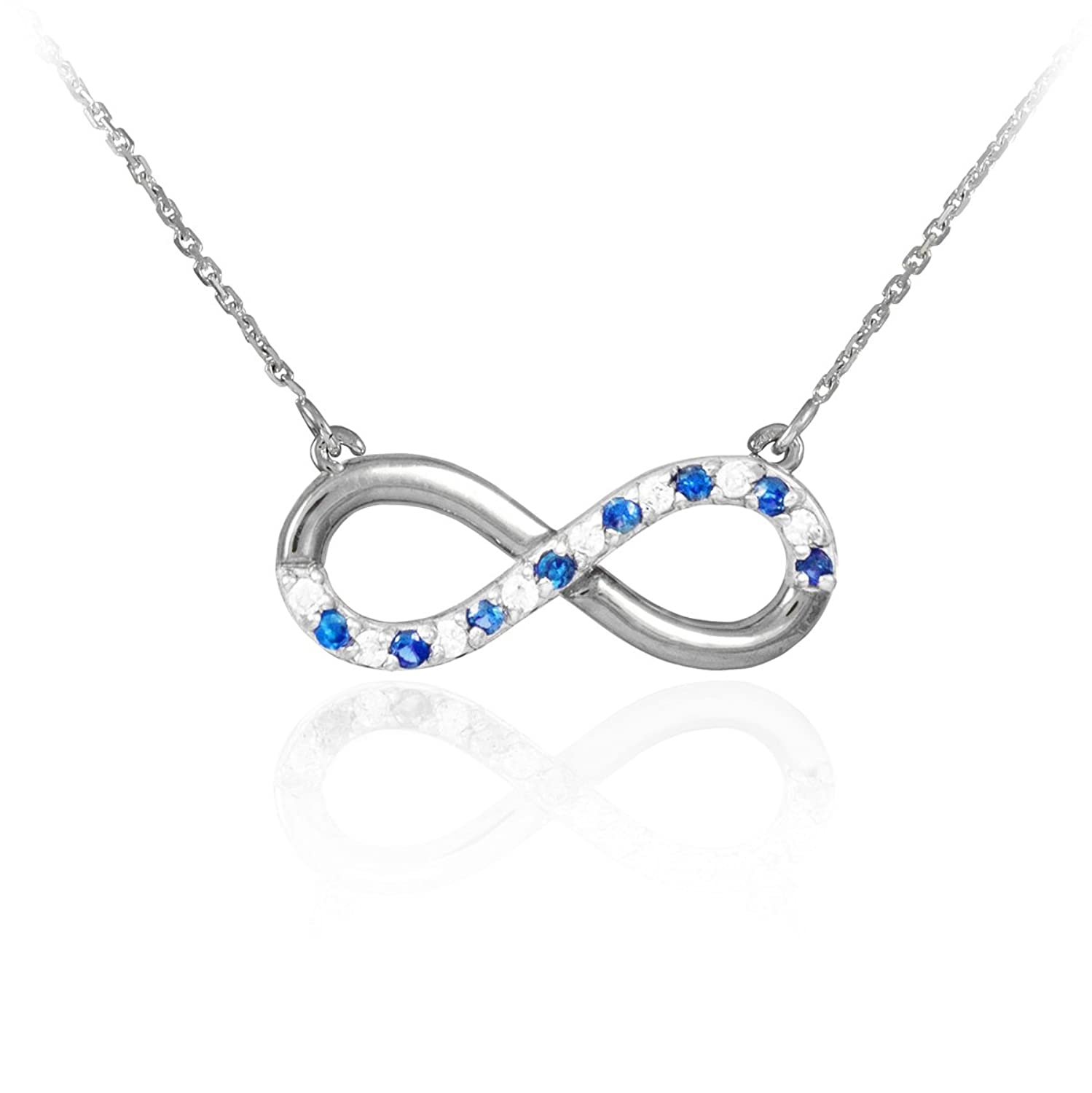 cheap 14k White Gold Sapphire and Diamond Infinity Necklace