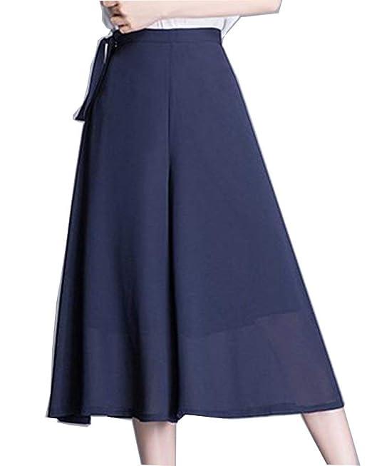 el más nuevo 678f4 87ab8 Screenes Falda Pantalon Mujer Verano Elegantes Pantalon Color Sólido Anchos  Aireado Estilo Simple Culotte Pantalones Palazzo Fashion Pantalones De ...