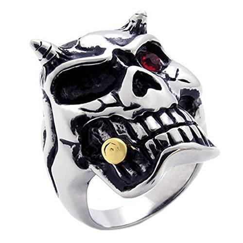 KONOV Gothic Biker Skull Men's Stainless Steel Ring Red Black, Size 10