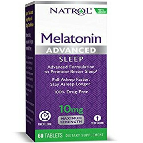 Natrol Advanced Sleep Melatonin Tablets, Maximum Strength 10 mg 60 ea ( Pack of 2) ()